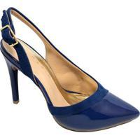 Scarpin Ramarim Verniz Detalhe Camurça - Feminino-Azul