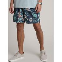 Short Masculino Estampado Floral Com Bolsos Azul Marinho