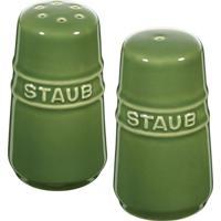 Saleiro E Pimenteiro De Cerâmica Staub Verde Basil 7Cm - 24691