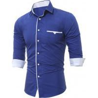 Camisa Social Slim Forro Branco - Azul Real