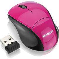 Mouse Multilaser Sem Fio 2.4 Ghz Nano Usb 1000Dpi Rosa - Mo151
