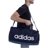 Mala Adidas Linear Duffle M - Azul Esc/Branco