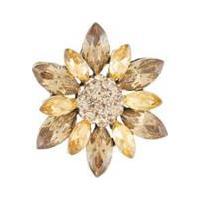 Broche Armazem Rr Bijoux Flor Cristal - Feminino-Dourado