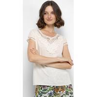 Blusa Sofia Fashion Guipir Feminina - Feminino-Bege