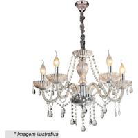 Lustre Candelabro Com Ornamentos- Cristal- 47Xã˜60Cm