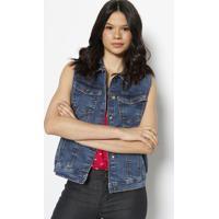 Colete Jeans Com Bolsos- Azulhering