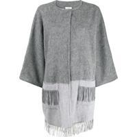 Snobby Sheep Brushed Knit Fringed Cardigan - Cinza