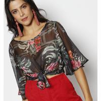 Blusa Floral Em Transparência & Amarração- Preta & Rosadimy