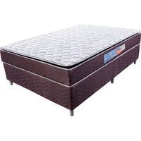 Cama Box Com Colchão Casal Classic Com Espuma D40 (66X138X188) Marrom E Bege