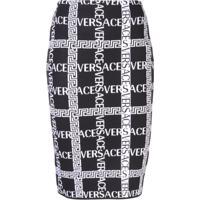 Versace Saia Lápis Com Logo Bordado - Preto