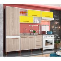 Cozinha Completa Hibisco 9 Pt 5 Gv Branco E Amarelo