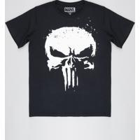 Camiseta Juvenil O Justiceiro Manga Curta Gola Careca Preta
