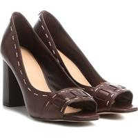 Peep Toe Couro Shoestock Salto Grosso Pespontos - Feminino