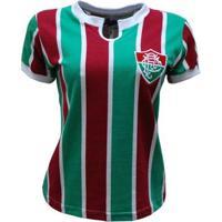 Camisa Liga Retrô Fluminense 1976 Feminino - Feminino-Vermelho+Verde