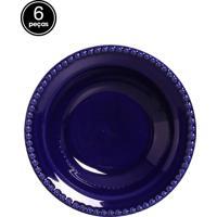 Conjunto 6 Pratos Fundos Bolinha Azul Scalla