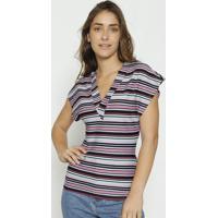 Blusa Texturizada - Preta & Lilã¡S - Colccicolcci