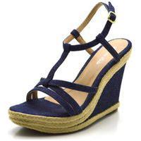Sandália Feminina E Confortável Anabela Salto Alto Em Tecido Jeans Azul