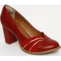 Sapato Tradicional Com Recortes & Pespontos - Vermelho &Mya Haas