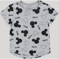 Blusa Infantil Mickey Estampada Manga Curta Decote Redondo Cinza Mescla