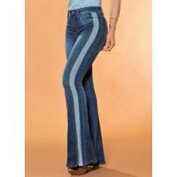 Calça Flare Sawary Com Faixa Lateral Jeans