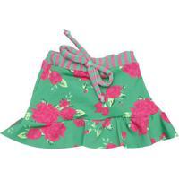 Saia Evasê Estampa Floral- Verde Rosa- L'Etel'Été