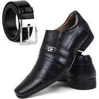 Sapato Galipoli Social Masculino Couro Legitimo Fino Linha Confort Kit Preto
