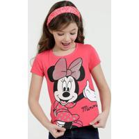 Blusa Infantil Minnie Glitter Manga Curta Disney