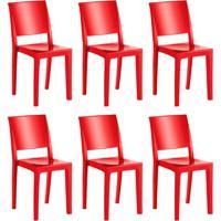 Conjunto Com 6 Cadeiras De Plástico Hydra Vermelho