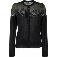 Dolce & Gabbana Cardigan Com Detalhe De Renda - Preto
