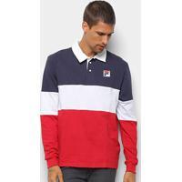 Camisa Polo Manga Longa Fila Color Masculina - Masculino-Marinho+Vermelho
