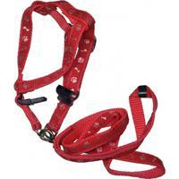 Guia Com Peitoral Ajustável Mais Dog N° 04 Vermelho Decorado 1 Unidade