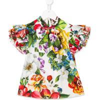 Dolce & Gabbana Kids Floral Print Pussy Bow Blouse - Branco