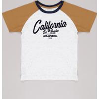 "Camiseta Infantil Raglan ""California"" Manga Curta Off White"