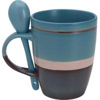 Caneca De Porcelana Com Colher Ribbon Azul 330Ml Bon Gourmet