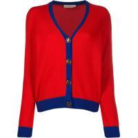 Tory Burch Cardigan Color Block De Cashmere - Vermelho