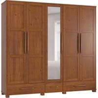 Guarda-Roupa Casal Com Espelho Perola 5Pt 3Gv 2110T Imbuia