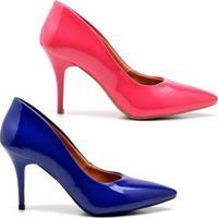 Kit Scarpin Ellas Online Salto Médio Verniz 2 Pares - Feminino-Rosa+Azul