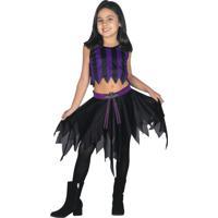 Fantasia Infantil Sulamericana - Conjunto Vampira C/ Morcego Pop - Tamanho P (3 A 5 Anos) - 10312 - Preto