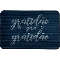 """Capacho Antiderrapante """"Gratidão Gera Gratidão""""- Azul Eswevans"""