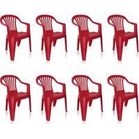 Conjunto Com 8 Cadeiras Plásticas Vila Boa Vista Vinho