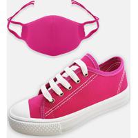 Kit Infantil Tênis Colegial E Máscara Mz Shoes Pink