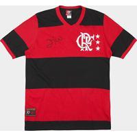 Camiseta Flamengo Retrô Zico Masculina - Masculino-Preto+Vermelho