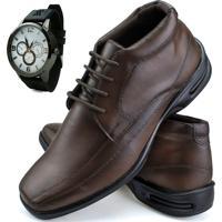 Sapato Social Conforto Neway Capuccino + Relógio Marrom