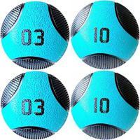 Kit 4 Medicine Ball Liveup Pro 3 E 10 Kg Bola De Peso Treino Funcional - Unissex