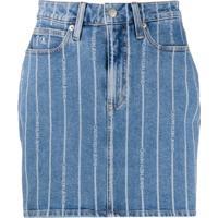 Calvin Klein Jeans Saia Com Logo E Listras - Azul