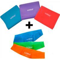 Kit Com 3 Faixas Elasticas + 3 Mini Band Forte, Media E Leve - Liveup - Unissex
