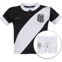 Kit De Uniforme De Futebol Da Ponte Preta Para Bebê: Camisa + Calção - Infantil - Preto/Branco