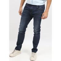 Jeans Alan Skinny Com Bigodes - Azul Escuro - Sommersommer