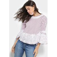 Blusa Lily Fashion Listrada Renda Feminina - Feminino-Vermelho