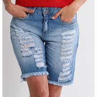 Bermuda Jeans Destroyed Feminina Max Denim